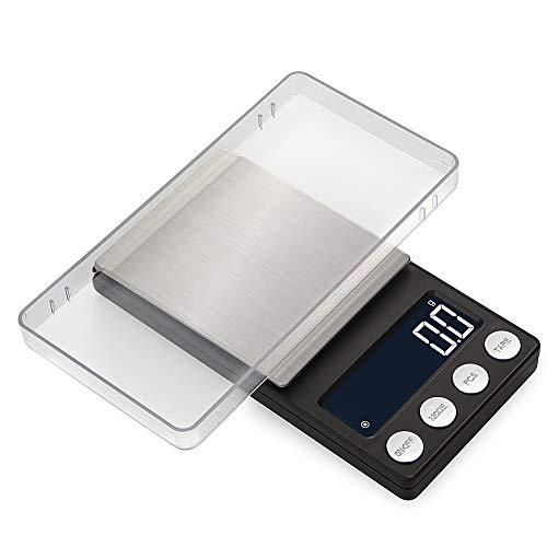 Balances bijoux plate forme LCD Rétroéclairé avec fonction tare et Compte numérique Haute précision pour bijoux cuisine, thé, levure, café et Autres,500g/0.01g