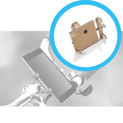 RUHRBASIS Smartphone Handy Fahrrad-Halterung Alu Bike Holder 360° Drehbar für OnePlus 3   OnePlus 3T   OnePlus 5   OnePlus 5T   OnePlus 6 - aus Aluminium Gold