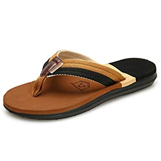Yvelands Herren Damen Mode lässig Flache Flip-Flops Hausschuhe Strandschuhe im Freien Rutschfeste Schuhe Couple Shoes Slipper Hausschuhe Sommer(CN-45,Khaki(Herren))
