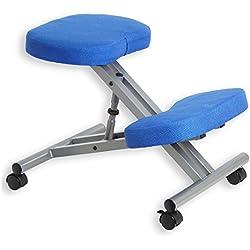 Tabouret ergonomique ROBERT siège ajustable repose genoux chaise professionnelle sur roulettes sans dossier posture droite relaxation massage, structure en métal couleur alu et assise rembourrée bleu