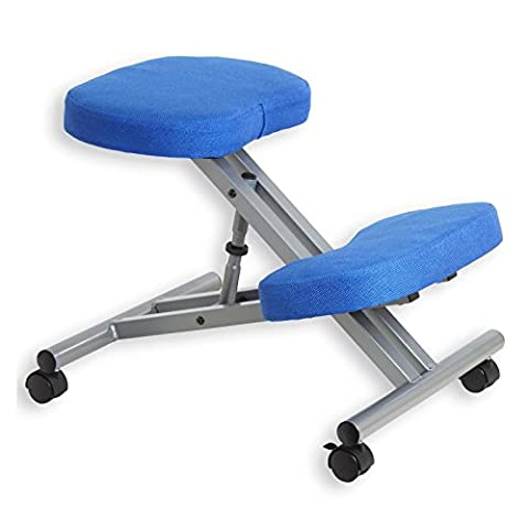 Kniestuhl Kniehocker Sitzhocker Bürohocker Gesundheitsstuhl ROBERT in blau/alufarben, höhenverstellbar, bequem
