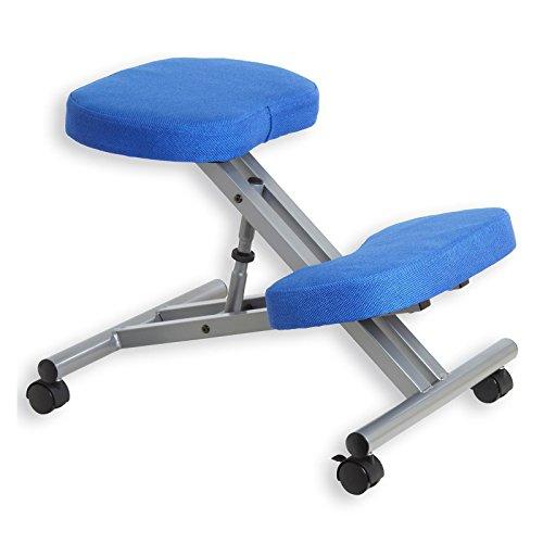 Kniestuhl Kniehocker Sitzhocker Bürohocker Gesundheitsstuhl ROBERT in blaualufarben, höhenverstellbar, bequem gepolstert, rollbar