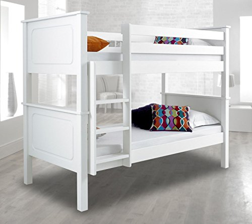 Happy Beds Vancouver White Finished Solid Pine Wooden Bunk Bed Frame
