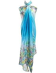 PB-SOAR XXL Damen Sarong Pareo Strandtuch Wickelrock Wickeltuch Schal Halstuch mit Blumenmuster, weich und leicht