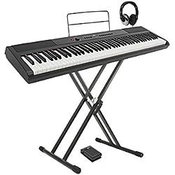 Piano de Escenario SDP-2 de Gear4music + Soporte y Cascos