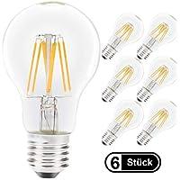 imiGY Lampadine a LED A60 E27, Lampadine a filamento trasparente, equivalente 80W Lampadine a candelabro a luce bianca calda 2700K 8W, non dimmerabili, confezione da 6