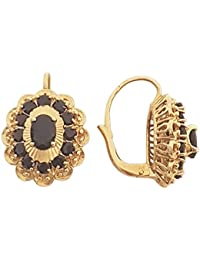 Superstar Boucles d'Oreilles Femme en Or 18 carats Jaune avec Grenat, 10 Grammes