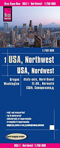 Reise Know-How Landkarte USA 01, Nordwest (1:750.000) : Washington und Oregon: world mapping project