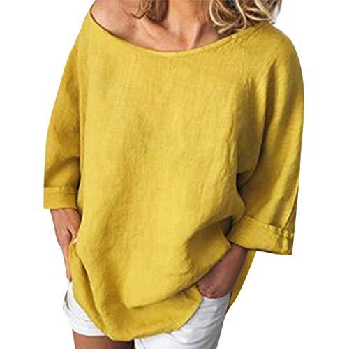 iYmitz 3/4-Arm Damen Streetwear Einfarbig Rundausschnitt Leinen Frauen Freizeit Bluse Sommer Freizeithemd(Z5-Gelb,EU-44/CN-2XL) -