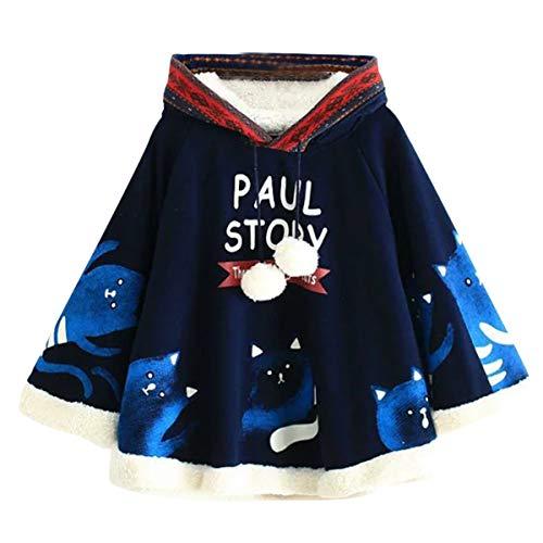 UWHFYP Paul Story Katze drucken Fleece Harajuku Kawaii Frauen Kapuzenpulli Mantel Mantel -