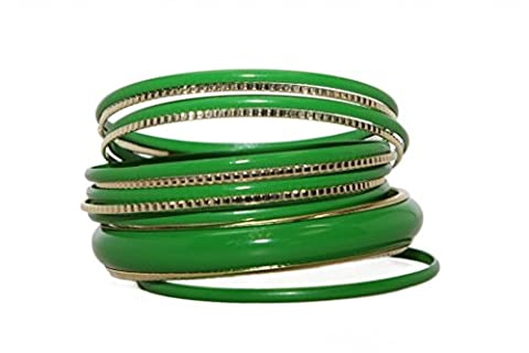 Lux Accessories - Grüne Emaille Strukturierte Multi Armreifen im Set