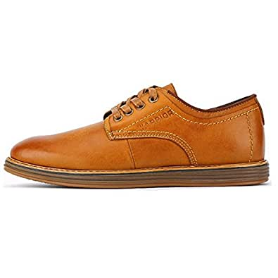 OEMPD Robe D'Affaires Occasionnels Chaussures Classic Oxford Real Leather Shoes Casual Hommes Chaussures,Camel-38