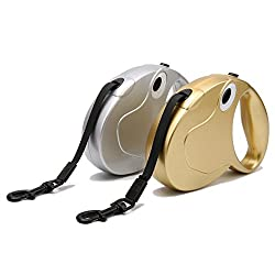 Generic Gold, 5M flat rope 25kg : Pet Retractable Dog Leash Puppy Dog Cat 3M/5M Long Automatic Lead Leashes For Small Medium Dogs Support Up To 25kg/55lbs