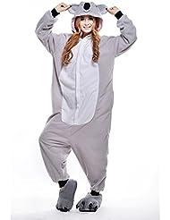 Pijamas Adultos Animales-Disfraz Anime Cosplay Ropa de Dormir Franela Traje Unisex Homewear M Koala Gris