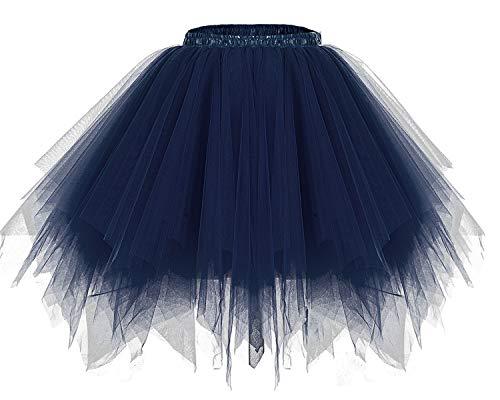 bridesmay Tutu Damenrock Tüllrock 50er Kurz Ballet Tanzkleid Unterkleid Cosplay Crinoline Petticoat für Rockabilly Kleid Navy S