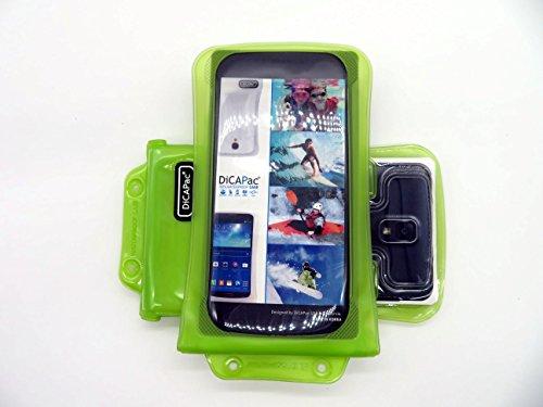 DiCAPac WP-C2 Universelle wasserdichte Hülle für HTC Desire 620/620G Dual Sim, 816/Dual Sim Smartphones in Grün (Doppel-Klettverschluss, IPX8-Zertifizierung zum Schutz vor Wasser bis 10 m Tiefe; integriertes Luftkissen treibt auf dem Wasser & schützt das Gerät; extraklare Polycarbonat-Fotolinse; inklusive Trageriemen)