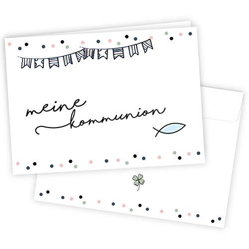 20 Einladungskarten zur Kommunion mit Umschlägen I DIN A6 I Set Einladungen zum Ausfüllen I für Kinder I dv_751