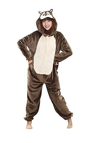 Honeystore Unisex Streifenhörnchen Jumpsuit Tier Cosplay Alltagskleidung Erwachsene Siamesische Kleidung Pyjamas (Bananas In Pyjamas Kostüm Kinder)