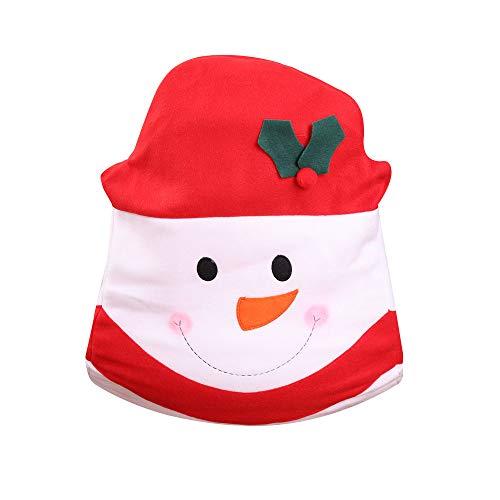 WHSHINE Home Weihnachts-Stuhlhussen Rot Weihnachtsmann Weihnachtsmütze Stretch Weihnachten Stuhlabdeckung Weihnachtsschmuck, für Esszimmer Party Deko(Rot,Free)