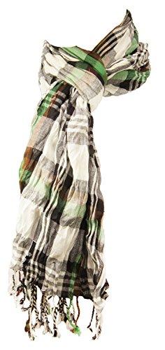 Herren Crinkle Schal schwarz grün braun weiss 100{98db83c64bdea7108c429f4fa0c2c5025e690e6b3e95b1ba477f2d929a4ce7ae} Baumwolle