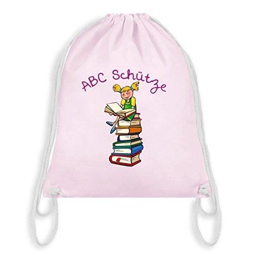 Einschulung - ABC Schütze Mädchen blond Bücher - Unisize - Pastell Rosa - WM110 - Turnbeutel & Gym Bag