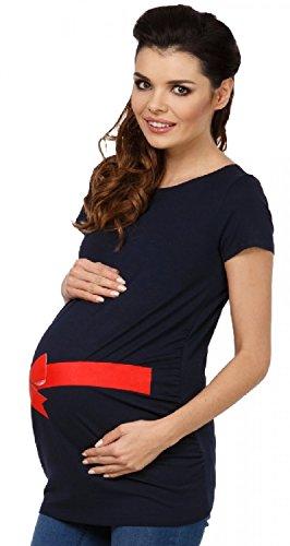 Zeta Ville - Maternité Top shirt de grossesse motif rouge noeud - femme - 033c Marine