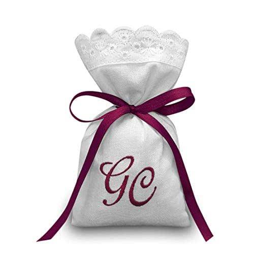 Crociedelizie, Stock 50 sacchetti ricamo iniziali nomi sposi matrimonio bomboniere portaconfetti