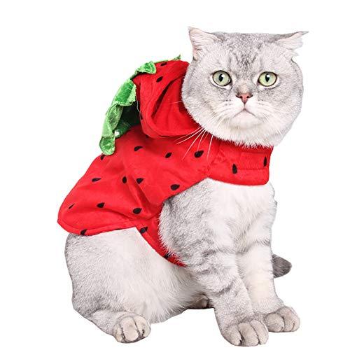 Xiton Niedliche Hunde Katzen Kostüm PET Apparel Welpen Kätzchen Erdbeer Kapuzen Kleidung Halloween Daily Wear
