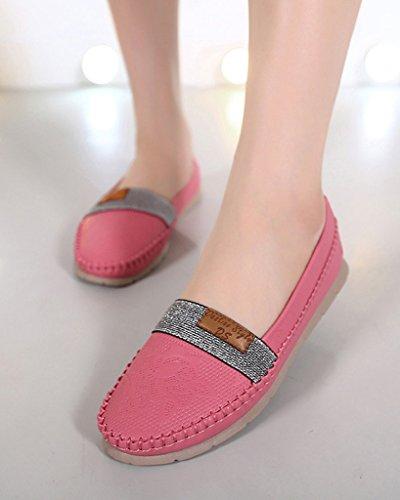 Minetom Damen Beiläufig Flache Schuhe Komfortabel Closed Toe Schuhe Geschäft Freizeit Loafer Schuhe Rot