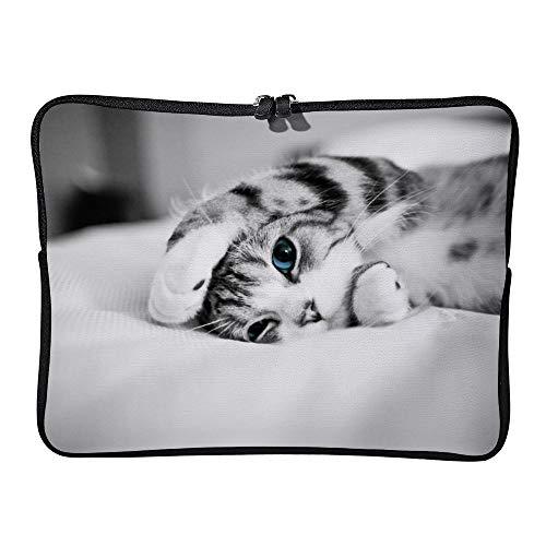 Schutzhülle/Sleeve für MacBook Pro/MacBook Air/Tablet/Aktentasche, 10 Zoll / 25,4 cm, Katzenmotiv mit blauen Augen Mehrfarbig Multi 43 cm (17 Zoll)
