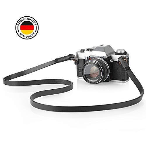 TARION Kamera Tragegurt Echtleder Kameragurt Trageriemen Schultergurt verstellbar (Schwarz, Länge: 122cm) für Leica Kamera oder DSLR Kompakt Kamera