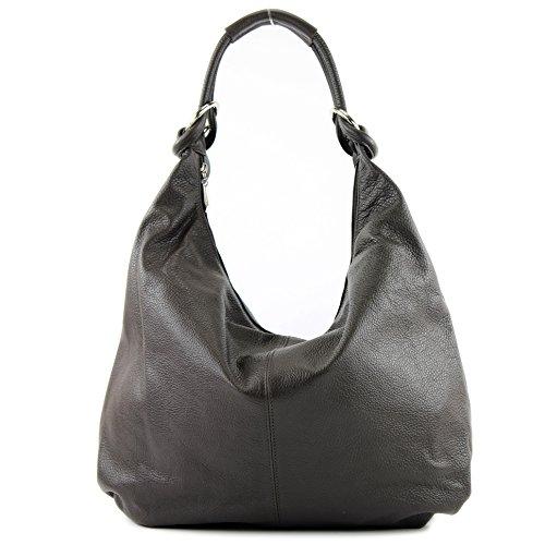 modamoda de - ital. Ledertasche Damentasche Hobo Bag Schultertasche Shopper Groß Leder 337 Dunkelbraun
