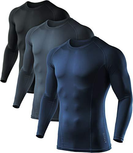 ATHLIO Herren (3 Stück) Cool Dry Compression Langarm Baselayer Sport-Shirts Tops BLS01, Jungen Damen Mädchen Herren, AO-BLS01-KCN, X-Large (3 Basketball 4 Leggings)