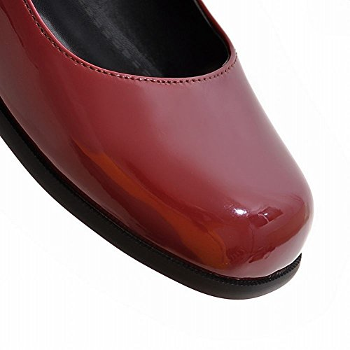 MissSaSa Donna Sottile col Tacco Basso Casual Vintage Rosso scuro