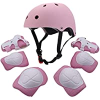 F&U Kids Youth Sports Protective Gear Set Helmet Elbow Knee Wrist Safety Pad Safeguard Rollerblading Bicycle BMX Bike Skateboard Outdoor Activities
