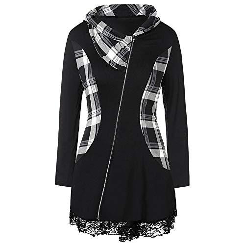 Gaodaweian Plus Size Lace Insert Plaid Zip Fly Coat Vorne offen Lange Blazer Turndown Kragen Stehkragen Fit und Flare Coat (Size : L) -
