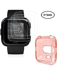 HEYSTOP Protector De Pantalla con Funda Para Fitbit Versa,(3+1 Piezas),0.2 mm 9H Anti-rasguños Película De Vidrio Templado y TPU Carcasa Para Fitbit Versa