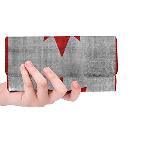 Einzigartige benutzerdefinierte Kanada Flagge Retro Vintage Style Frauen Trifold Wallet Lange Geldbörse Kreditkarteninhaber Fall Handtasche
