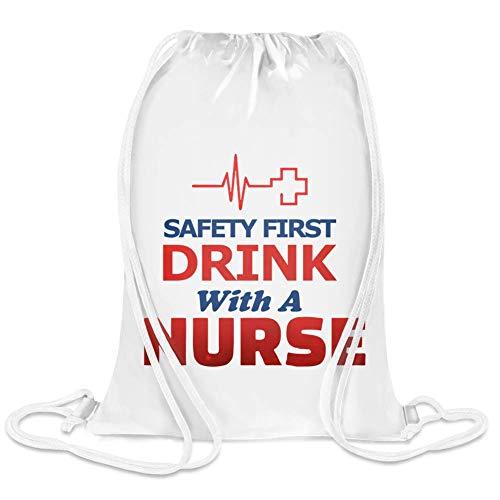 Safety First Drink mit einer Krankenschwester - Safety First Drink With A Nurse Custom Printed Drawstring Sack | 100% Soft Polyester| 5 Liter Capacity| Adjustable String Closure| The Stylish Bag For - First Safety Bag