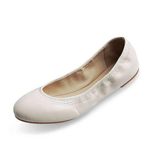 Xielong Chaste Ballett Flach Lammfell Loafers Casual Damen Schuhe Leder Geschlossene Ballerinas Cream 10