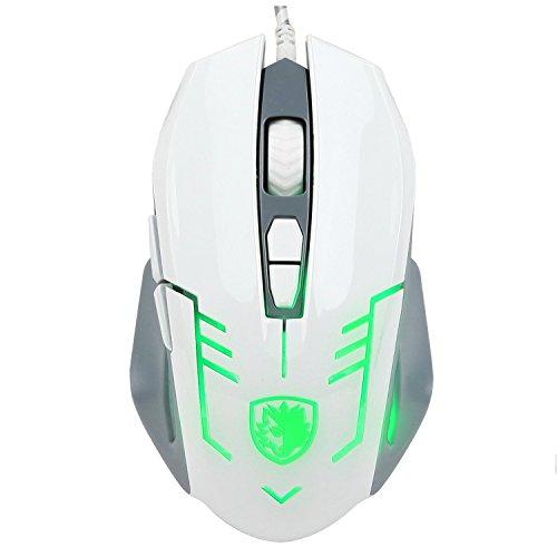 SADES S6USB PC Gaming Maus Mäuse 2500DPI Omron Micro Schalter mit 4Farben LED Lichter, Geflochten Kabel (weiß) -