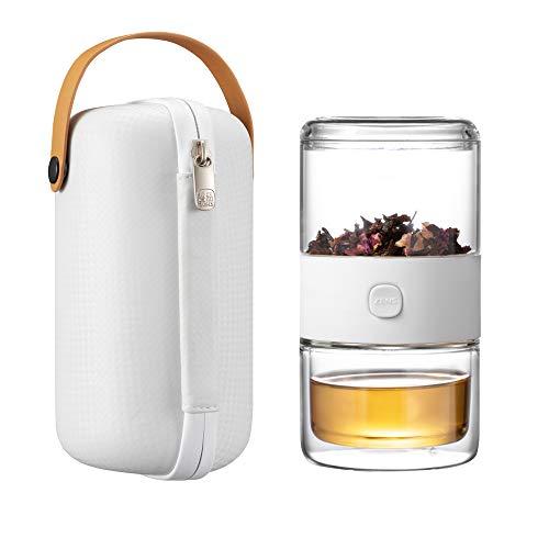 ZENS Glas-Teekannen-Set,Tee-Infuser-Becher,Teekanne mit Infusionen für losen Tee,Tee-Set mit Etui,1 Tasse Tee-Set,Weiß -