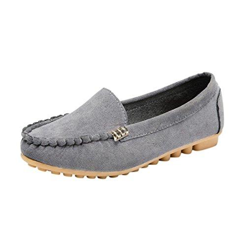 OverDose Chaussures Plats Daim, Femme Mocassins Pointure Large Ballerines Casual Soft Slip-on Shoes (39, Gris)