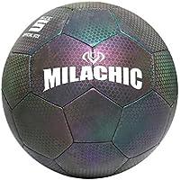 Garneck Balón de Fútbol Que Brilla en La Oscuridad Balón de Fútbol Iluminado para Niños Adultos Adolescentes Mascotas (Patrón de Neón No. 5)