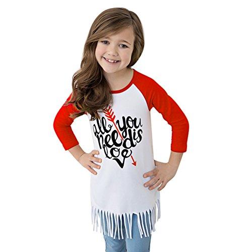 Loveble Mädchen Baumwolle T-Shirt Brief Pfeil Muster gedruckt Quaste Mädchen Kinder Top (Mädchen Kleid Banded)
