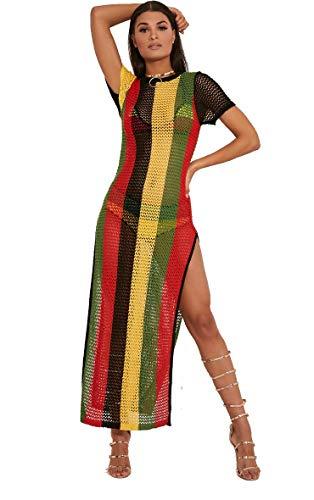Clossy London - 100% ägyptische Baumwolle - Damen - Rasta - Jamaica - Work - Arbeit - String - Kleid mit durchgehendem Schnitt - mehrfarbiges Hip-Hop-Dance-Club-Kleid (Rasta, S / M) - Kleid Hip Hop