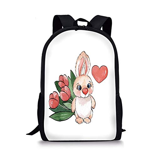 School Bags Watercolor Flower,Cute Little Fluffy Rabbit with Heart and Tulips Happiness Love Theme Paint,Pink White Red for Boys&Girls Mens Sport Daypack -