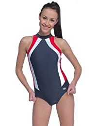 gWINNER - Wettkampfanzug Schwimmanzug Badeanzug - OLIVIA - MADE IN EU (anthrazit/rot, 40)