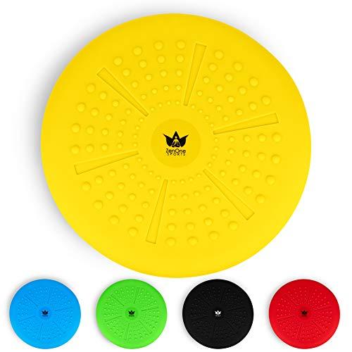 ZenBalance Plus Sitzball Kissen 33 cm inkl. Pumpe I Aufblasbares Luftsitzkissen zum aufrecht Sitzen mit GRATIS E-Book & Workout-Guide I Premium Balance Pad Kissen für Gleichgewichtstraining (Gelb)