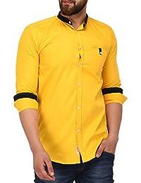 Lafantar Men's Slim Fit Mandarin Collar Casual Shirt